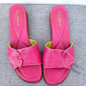 Cole Haan Pink Leather Slides Small Wedge Heel 8.5